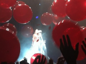 "Wayne Coyne from The Flaming Lips dressed as ""Carrie"" for Halloween."