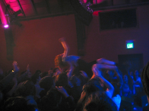 Zaina crowdsurfing during La Luz at The Chapel, 01/20/14